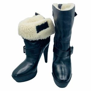 Authentic BURBERRY Shearling Lined Moto Boots